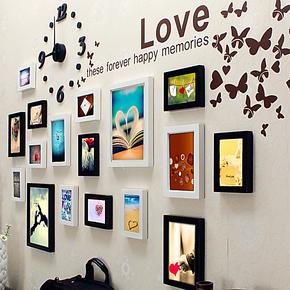 17框实木婚房照片墙 欧式相片墙宝宝客厅相框墙 儿童创意相框组合