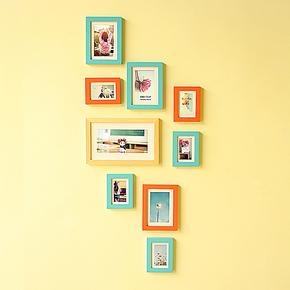 包邮照片墙 创意9框组合实木相片墙 竖版相框墙 0209款 适合侧墙