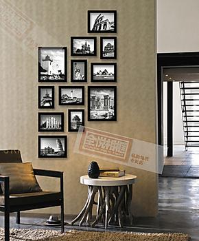特价竖款相框组合照片墙 相片墙12框实木照片墙/送图纸限区包邮
