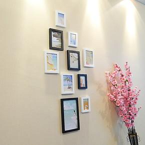 时尚实木10框组合相框墙 竖版楼道转角照片墙现代简约