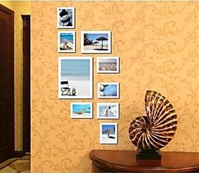 满包邮加厚10寸实木相框 欧式9框竖款照片墙 挂像架组合创意装饰