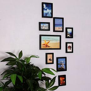 包邮 实木照片墙 9框经典竖款相片墙 玄关走廊组合相框墙0901