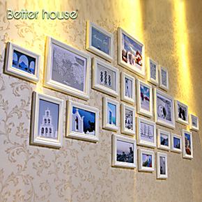 百特好照片墙欧式客厅相框墙地中海风情23框经典重现实木相框