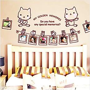 家饰创意照片墙贴 客厅卡通儿童房卧室背景装饰墙壁贴纸 kitty猫