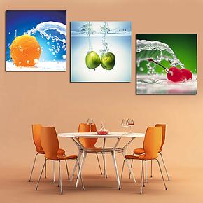 特价正品 水果三联无框画现代室内装饰画墙画餐厅壁画版画挂画成