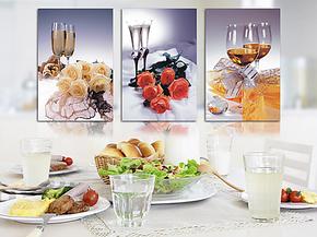 简约家庭装饰画餐厅无框画厨房挂画饭厅墙画鲜花酒杯壁画创意图画