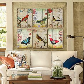 奇居良品 客厅卧室家居装饰画墙面挂画 艾菲尔花鸟蝶木板画 特价