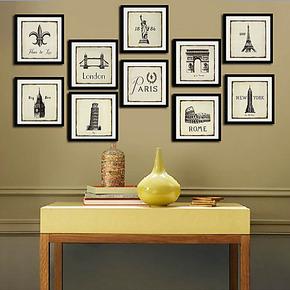 热销 时尚黑白有框卡纸画 欧式装饰画墙面挂画壁画 多幅组合 喷绘