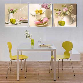 水果餐厅挂画墙面装饰画 背景墙三联无框画 客厅现代简约壁画
