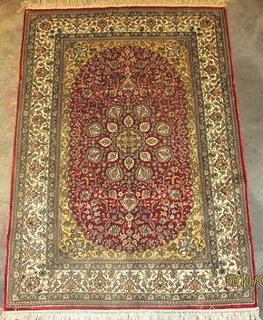 2x3手工真丝地毯 波斯真丝挂毯/壁毯/壁挂61*91cm红