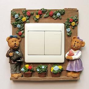 高档树脂开关贴 墙贴 环保插座套 立体手绘灯开关罩(温馨之家)