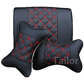 汽车头枕 车用PU颈枕 超纤皮靠枕 车用头枕腰靠抱枕套装 红酒系列