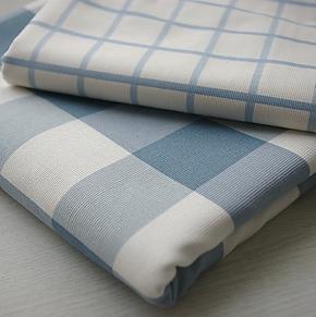 地中海格子大方格外贸纯棉帆布沙发巾纯棉窗帘桌布抱枕靠枕布料