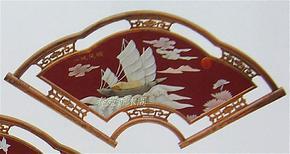 仿古红木屏风客厅装饰画天然玉石壁画扇形一帆风顺玉画玉屏风壁屏