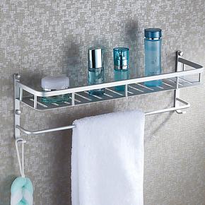 沐唯 太空铝浴室置物架壁挂 卫生间单双层浴巾架浴室挂件五金挂件