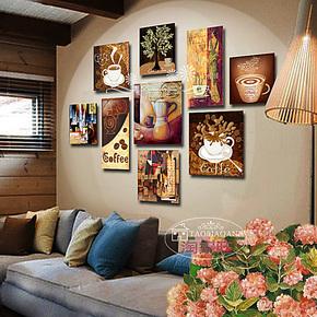包邮咖啡厅装饰画西餐厅挂画酒店照片墙壁画欧式咖啡画无框画特价