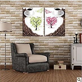 无框画餐厅现代简约壁画 餐厅装饰画 食堂饭店挂画墙画爱心咖啡