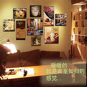 包邮无框画怀旧咖啡厅装饰画西餐厅酒店照片墙画欧式壁画复古挂画
