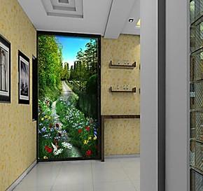 大型空间壁画 田园花草树木玄关沙发卧室背景墙纸自贴 3D立体壁纸