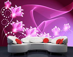 塞拉维 大型壁画壁纸 梦幻紫罗兰沙发卧室婚房背景墙 韩国紫梦幻