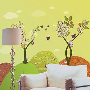【防水可擦洗】大型 壁画 卡通 室内装饰 液体壁纸
