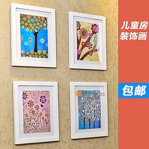 童年色彩外贸实木创意儿童房装饰画相框组合照片墙有框画10寸包邮