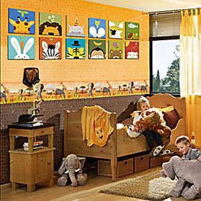 客厅卧室装饰画现代时尚卡通儿童房无框画挂画动物照片墙组合壁画