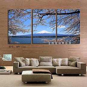 野外风景墙体壁上画富士山雪景樱花客厅装饰画酒店无框画版画挂画