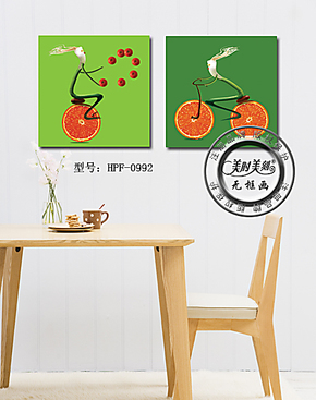 抽象水果墙体壁画餐厅装饰画儿童房挂画无框画水果店挂画板画二联