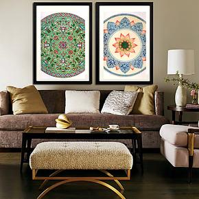 现代餐厅装饰画 客厅壁画 两联有框画 中式挂画墙画 青花瓷挂画