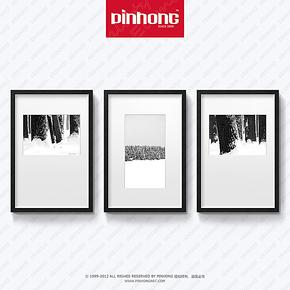 PINHONG 现代简约装饰画黑白挂画壁画墙面三联个性现代有框画雪树