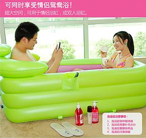 包邮正品水美颜折叠浴缸成人浴盆情侣双人充气浴缸沐浴桶木桶浴缸