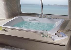 亚克力/珍珠白珠光板嵌入式双人浴缸五件套冲浪按摩浴缸 1.8米