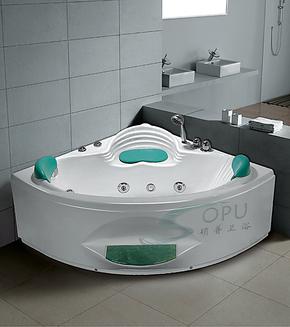 珠光板珍珠白亚克力冲浪按摩浴缸五件套浴缸1.2三角双人