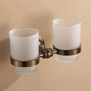 卫浴挂件仿古拉丝太空铝 刷牙杯漱口杯 刷杯架带杯 青古铜双杯架