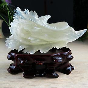 天然冰种玉石白菜 玉白菜家居玉雕摆件 玉器摆件招财旺财