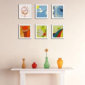 6框组合 非主流迷你画有框画相片墙照片墙儿童房走廊玄关