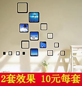 照片墙创意组合相框墙照片相框相片墙亚克力水晶立体墙贴包邮S37
