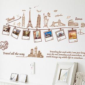 照片墙 相框 照片贴纸 墙贴 客厅卧室沙发背景墙 墙贴纸 巴黎风景