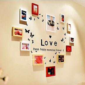 包邮蝴蝶飞飞款DIY照片墙12框实木相框画框新房装修创意相片墙