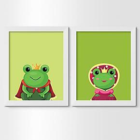 青蛙王子装饰画框相框相照片墙实木加厚卡通动画角色儿童房小清新