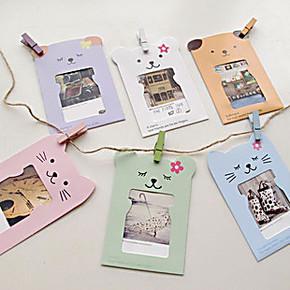 DIY纸质宝宝小熊创意组合悬挂纸相框照片墙 麻绳夹子韩式相框3寸