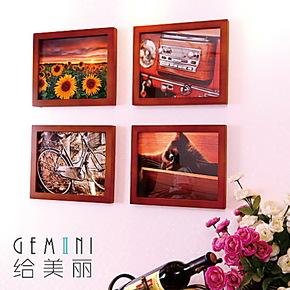 给美丽 照片墙 小墙面装饰 实木照片墙 4框创意组合欧美相框墙