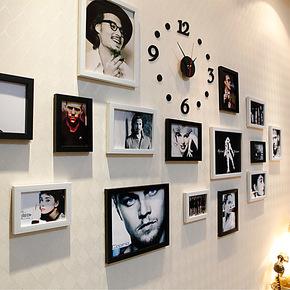 美轩 照片墙 钟表照片墙组合 创意 带钟 相片墙 韩式相框墙15框