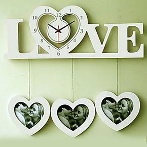 特价 LOVE时尚创意相框挂钟 欧式田园个性时钟客厅卧室静音钟表