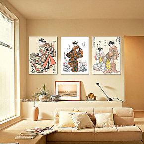 日本仕女图无框画三联画日式风格壁画酒店装饰画卧室床头画挂画