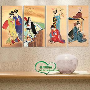 日式画仕女图浮世绘 酒店餐厅客厅壁画 日本装饰画无框画挂画四联
