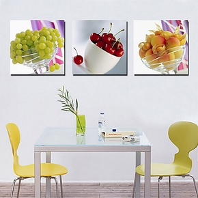 家居装饰餐厅装饰画墙画 餐厅壁画 无框画三联画餐厅画挂画水果