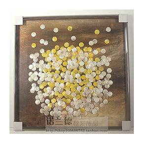 高档装饰画 现代简约 酒店 会所 客厅挂画 纯手工实物贝壳装饰画
