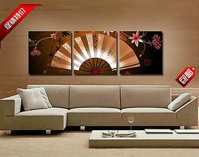 古典扇子客厅装饰画 现代卧室酒店挂画 沙发背景墙三联画挂画壁画